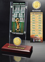 Boston Celtics 17-time NBA Champions Ticket & Bronze Coin Acrylic Desk Top