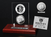 Brooklyn Nets Silver Coin Etched Acrylic