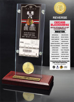 *Chicago Blackhawks 2015 Stanley Cup Champions Ticket & Bronze Coin Acrylic Desk Top