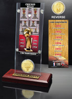 Chicago Bulls 6-time NBA Champions Ticket & Bronze Coin Acrylic Desk Top