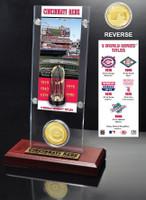 Cincinnati Reds World Series Ticket & Bronze Coin Acrylic Desk Top