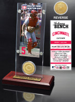 Johnny Bench Hall of Fame Ticket & Bronze Coin Acrylic Desk Top