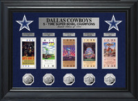 Dallas Cowboys 5 Time Super Bowl Champions Deluxe 5pc Silver Coin & 5pc Ticket Collection LE 1000