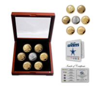 Dallas Cowboys 5-Time Super Bowl Champions 6 Gold Coin and Silver Coin Set w/Case LE 1000