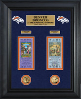 Denver Broncos Super Bowl Ticket and Game Coin Collection Framed
