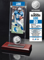 Barry Sanders Ticket & Minted Coin Acrylic Desk Top