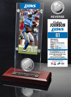 Calvin Johnson Ticket & Minted Coin Acrylic Desk Top