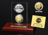 Detroit Pistons 24KT Gold Coin Etched Acrylic