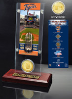 Detroit Tigers World Series Ticket & Bronze Coin Acrylic Desk Top