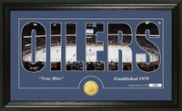Edmonton Oilers Silhouette Bronze Coin Panoramic Photo Mint