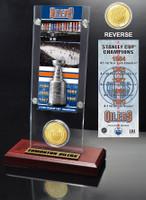 Edmonton Oilers 5x Stanley Cup Champions Ticket and Bronze Coin Acrylic Display
