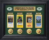 Green Bay Packers 4x Super Bowl Gold Coin and Ticket Collection Framed LE 1000