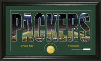 Green Bay Packers Silhouette Bronze Coin Panoramic Photo Mint