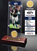 J.J. Watt Ticket & Bronze Coin Acrylic Desk Top
