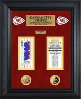 Kansas City Chiefs Super Bowl Ticket and Game Coin Collection Framed