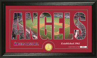 Los Angeles Angels Silhouette Bronze Coin Panoramic Photo Mint