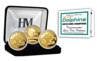 Miami Dolphins 2-time Super Bowl Champions Gold Game Coin Set