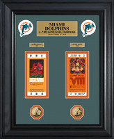 Miami Dolphins Super Bowl Ticket and Game Coin Collection Framed