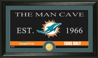 Miami Dolphins Man Cave Bronze Coin Panoramic Photo Mint
