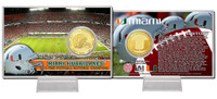 University of Miami 5-Time National Champions Bronze Coin Card