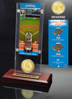 Miami Marlins World Series Ticket & Bronze Coin Acrylic Desktop