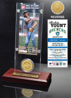 Robin Yount Hall of Fame Ticket & Bronze Coin Acrylic Desk Top
