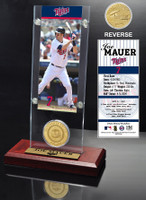 Joe Mauer Ticket & Minted Coin Acrylic Desk Top