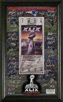 New England Patriots Super Bowl XLIX Champions Signature Ticket Framed LE