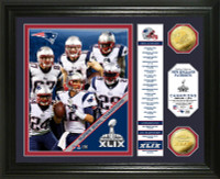 New England Patriots Super Bowl XLIX Champions Banner Gold Coin Photo Mint