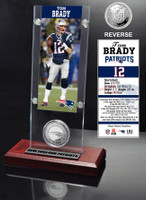 Tom Brady Ticket & Minted Coin Acrylic Desk Top