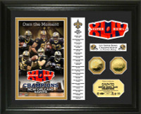 New Orleans Saints Super BowlxLIV Champs 24KT Gold Coin Banner Photo Mint