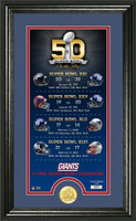 *New York Giants Super Bowl 50th Anniversary Bronze Coin Supreme Photo Mint