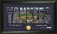 New York Yankees Silhouette Bronze Coin Panoramic Photo Mint