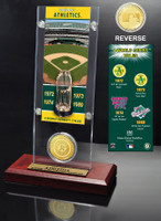 Oakland Athletics World Series Ticket & Bronze Coin Acrylic Desk Top