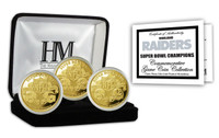 Oakland Raiders 3 Time Super Bowl Champions 3pc Gold Coin Set w/Case LE