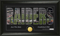 Oakland Raiders Silhouette Bronze Coin Panoramic Photo Mint