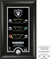 Oakland Raiders 3 Time Super Bowl Silver Coin Supreme Photo Mint LE 5000