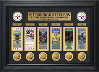 Pittsburgh Steelers Super Bowl 6pc Ticket and 6pc Gold Game Coin Collection Framed