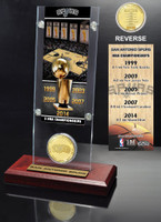 San Antonio Spurs 5-Time NBA Finals Champions Ticket & Minted Coin Acrylic Desk Top