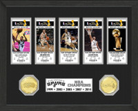 San Antonio Spurs 5 Time Champions Ticket Bronze Coin Ticket Collection