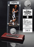 Tony Parker Ticket and Minted Coin Desktop Acrylic