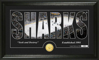 San Jose Sharks Silhouette Bronze Coin Panoramic Photo Mint