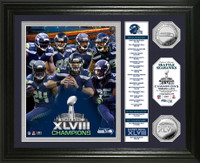 Seattle Seahawks Super Bowl 48 Champions Banner Silver Coin Photo Mint