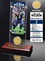 Russell Wilson Ticket & Bronze Coin Acrylic Desk Top