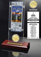 Seattle Seahawks Super Bowl 48 Champions Ticket & Bronze Coin Desktop Acrylic