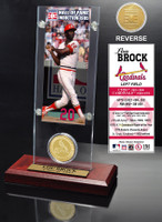 Lou Brock Hall of Fame Ticket & Bronze Coin Acrylic Desk Top