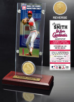 Ozzie Smith Hall of Fame Ticket & Bronze Coin Acrylic Desk Top