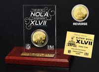 Super BowlxLVII Gold Flip Coin Desk Top Acrylic