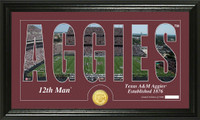 Texas A&M University Silhouette Bronze Coin Panoramic Photo Mint