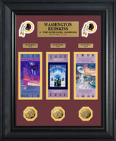 Washington Redskins Super Bowl Ticket and Game Coin Collectible Frame